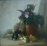 В.Н.Решитов. Натюрморт с виноградом. Оргалит, масло. 28х28 см. Частная коллекция.