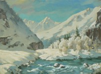 В.Н.Решитов. Зимой в горах. Холст, масло. 30х40 см.