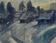 Л.С.Романова. Баньки на берегу. 2001. 70х60. Бумага, акварель.