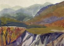 Л.С.Романова. Осень в горах. 1990. 60х80, бумага, акварель.