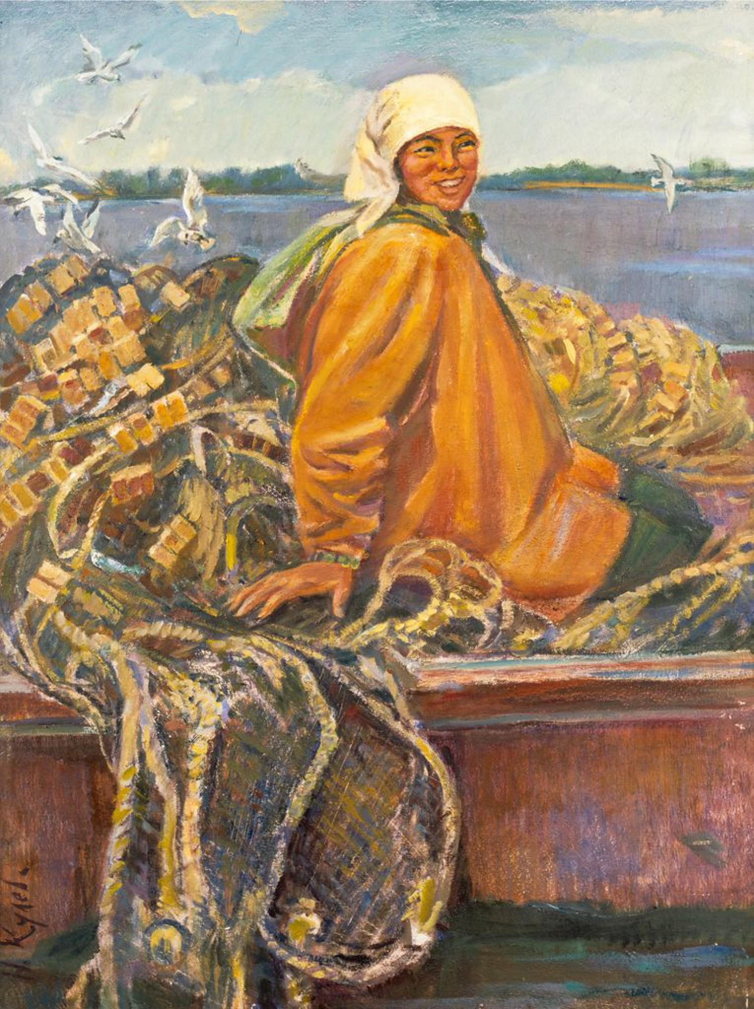 Н.Кулёва. Рыбачка. 2004. 79х59 см., картон, масло.
