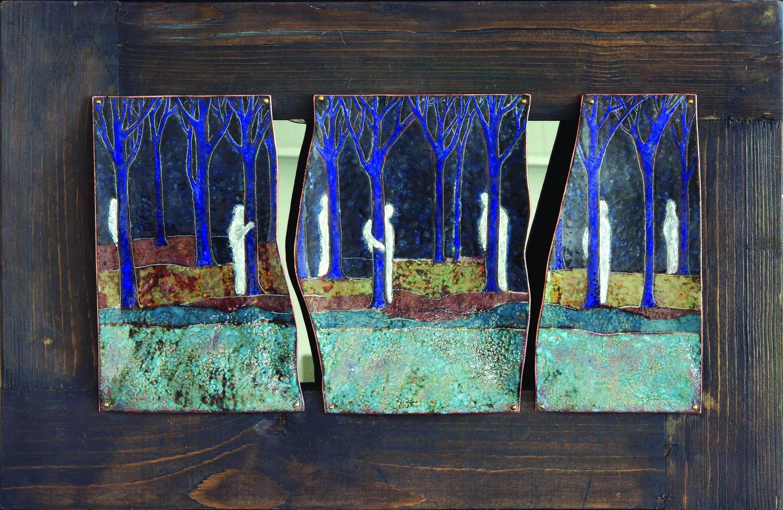 """Стелла Арутюнова """"Призраки"""". 2014 г. Медь, эмаль, дерево, зеркало. 30х40 см. ЯХМ."""