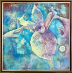 Н.В.Сальникова. Ирис жёлтый. Математика цветения. 2014 г. Ручная выпиловка по меди, акрил, смешанная техника.. 98х98 см.