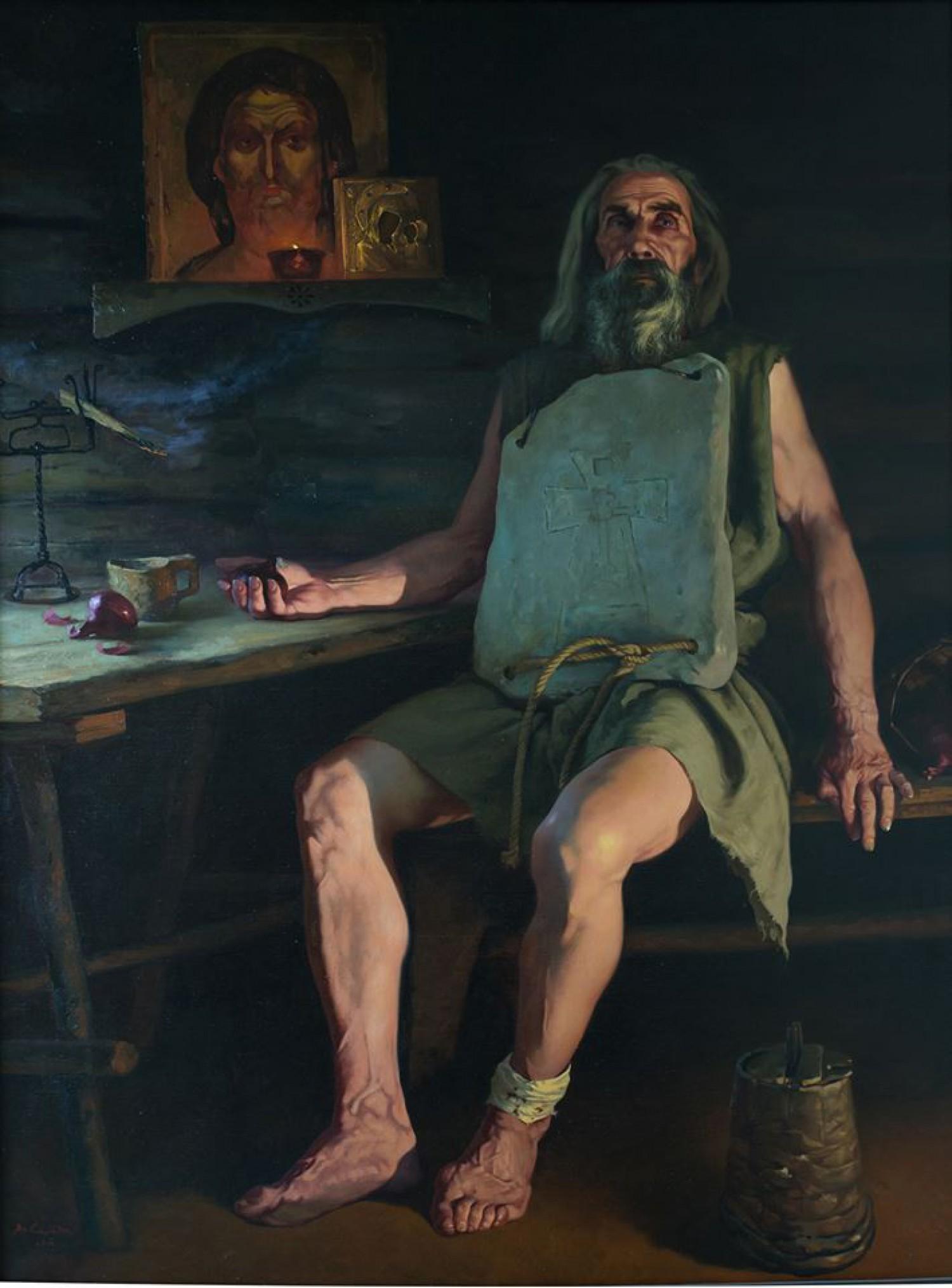 В.М.Барсуков (Середа). Старец Капитон. 2013, холст, масло, 180х135.