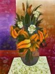 Е.Г.Ширяева. Букет с жёлтыми лилиями. 2012 г. Натуральный шёлк, холодный батик.