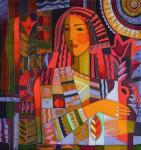 Е.Г.Ширяева. Девушка с вазой. 2015 г. Натуральный шёлк, холодный батик.