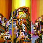 """Е.Г.Ширяева. Триптих """"Солнечный город"""". 2015 г. Натуральный шёлк, холодный батик."""