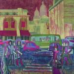 Е.Г.Ширяева. Парижские улицы. 2007 г. Натуральный шёлк, горячий батик.