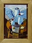 "А.Арискина. ""Белый натюрморт"" Сталь, горячая эмаль 2015 г. 20х30"