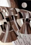 В.Максимова. Триптих Русское Поле 3. 60х45 см., текстильный коллаж.