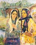 Н.Кулёва. Подруги (цыганки). 1975. 90х72 см., картон, масло.