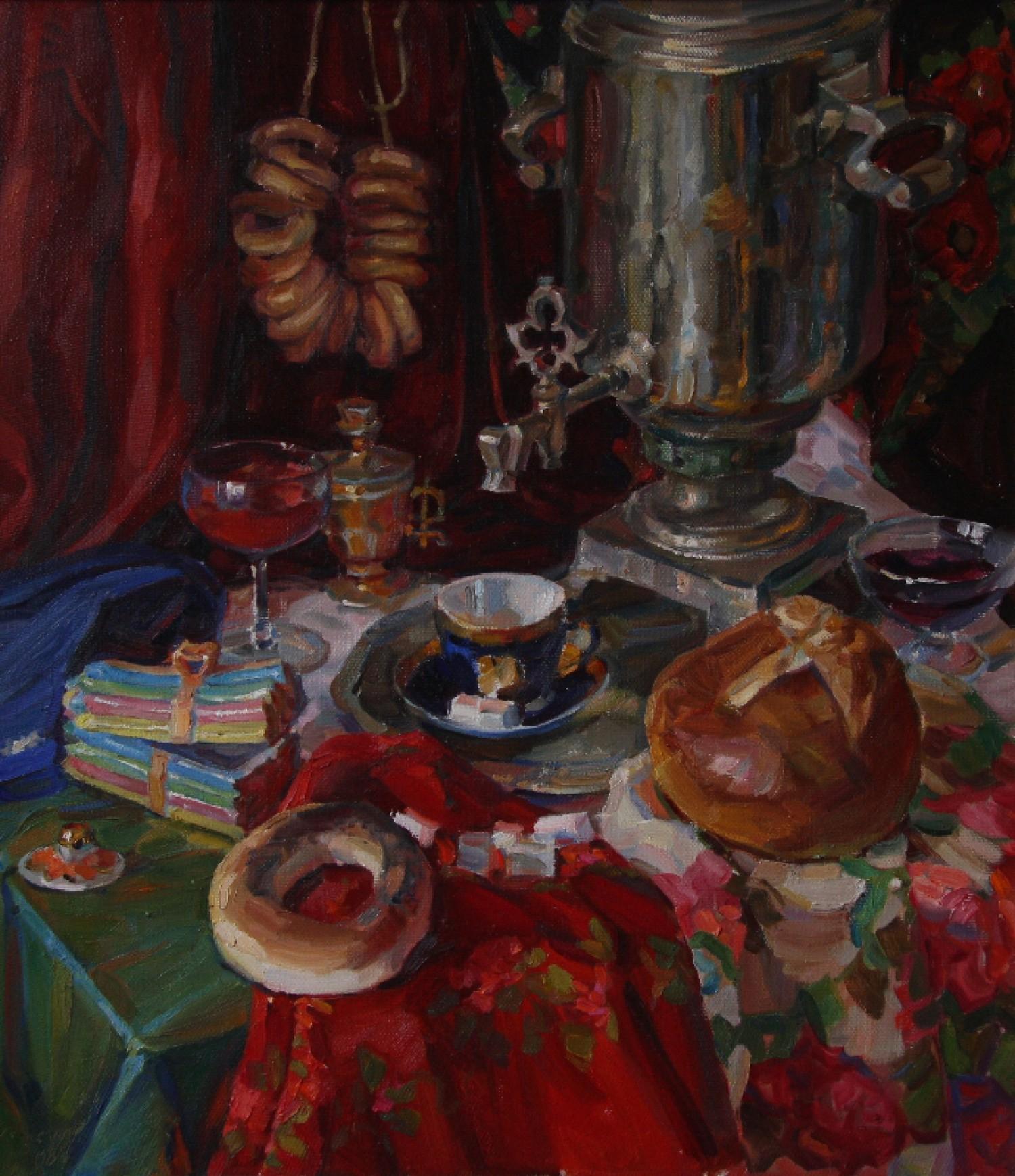 Ю.В.Урсул. Русский самовар. Холст, масло. 95х80 см.