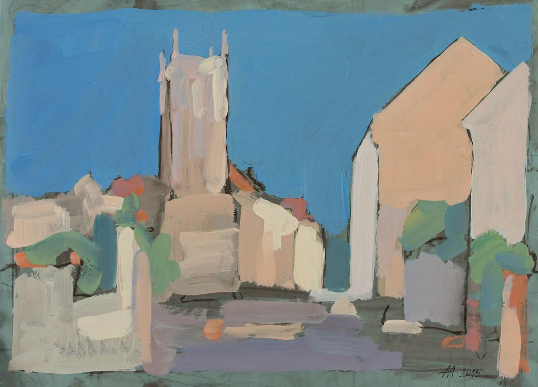 А.С.Александров. В старом городе. 2015 г. Бумага на оргалите. 48х65 см.