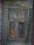 Н.Д.Болотцева. В зелёном окне.  Бумага, смешанная техника. 65х50 см. 2010 г.