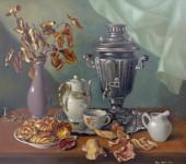 Ф.Ф. Вдовин. Натюрморт с самоваром. 1991 г. Холст, масло. 80х70 см.