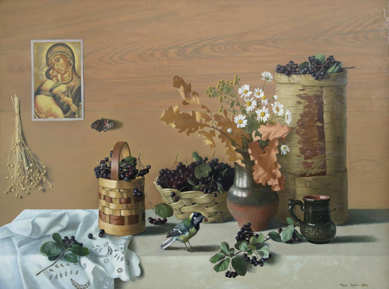 Ф.Ф. Вдовин. Натюрморт с черноплодной рябиной. 2006 г. Холст, масло. 100х70 см.