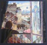 В.Максимова. Весна в Париже. 100х100 см. текстильный коллаж.