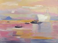 Д.Г.Новиков. Вьетнам. Лодки и корабль. 2013. 75х95 см., холст, масло.