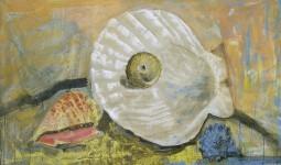 М.Ф.Серикова. Жемчужница. Из серии «Ракушки». 1997. 45х130 см. холст, эмаль, темпера.