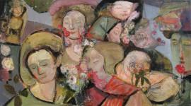 А.Л.Аранышев. Женщины и цветы. 2014 г. 50х80 см. Холст, масло.